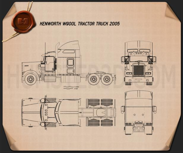 Kenworth W900L Tractor Truck 2005 Blueprint