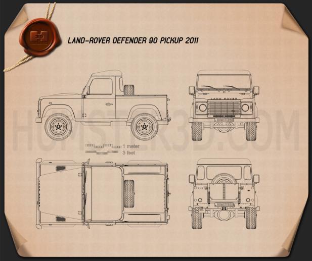 Land Rover Defender 90 pickup 2011 Blueprint