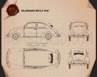 Volkswagen Beetle 1949 Blueprint