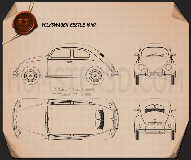 Volkswagen Beetle 1949 Blaupause
