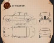 BMW 501 Saloon 1952 Blueprint 3d model
