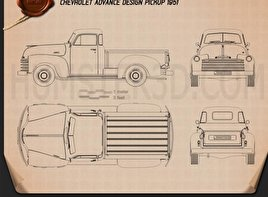 Chevrolet Advance Design Pickup 1951 Blueprint