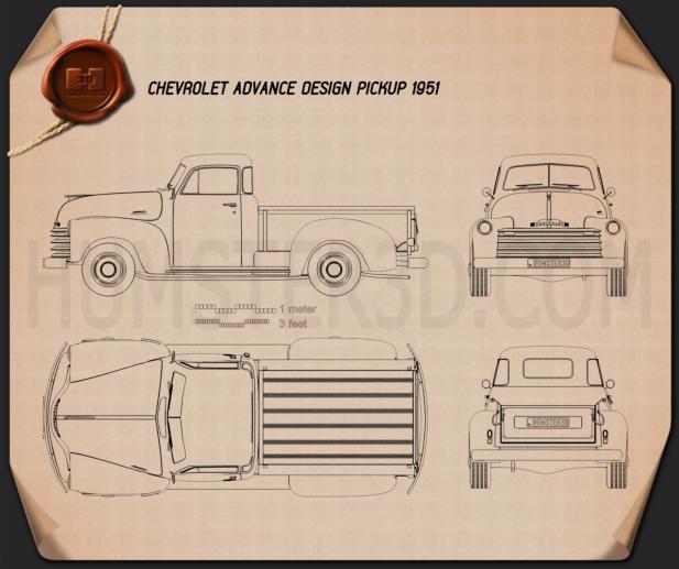 Chevrolet Advance Design Pickup 1951 Blueprint