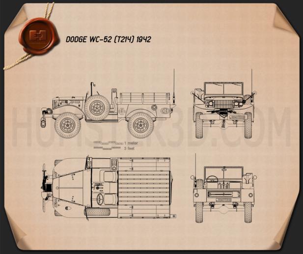 Dodge WC-52 (T214) 1942 Blaupause