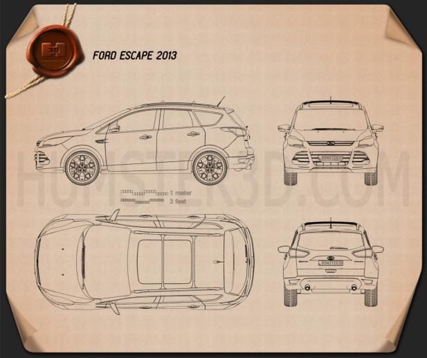 Ford Escape (Kuga) 2013 Disegno Tecnico