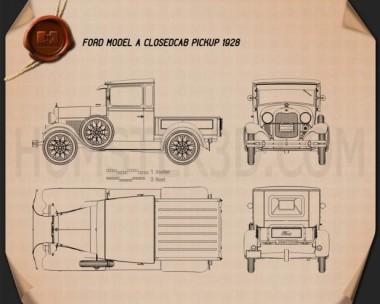 Ford Model A Pickup Closed Cab 1928 Blueprint