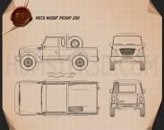 Iveco Massif pickup 2011 Blueprint 3d model