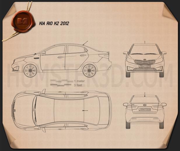 Kia Rio (K2) Sedan 2012 Blueprint