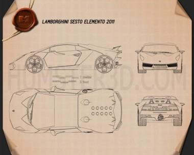 Lamborghini Sesto Elemento 2011 Blueprint