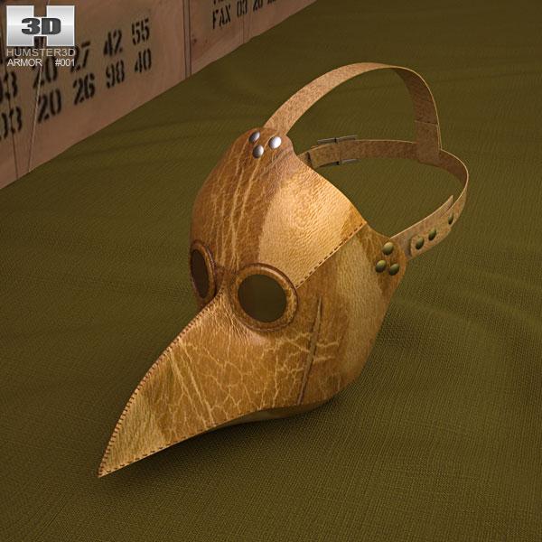 Black Plague Doctor Mask 3D model