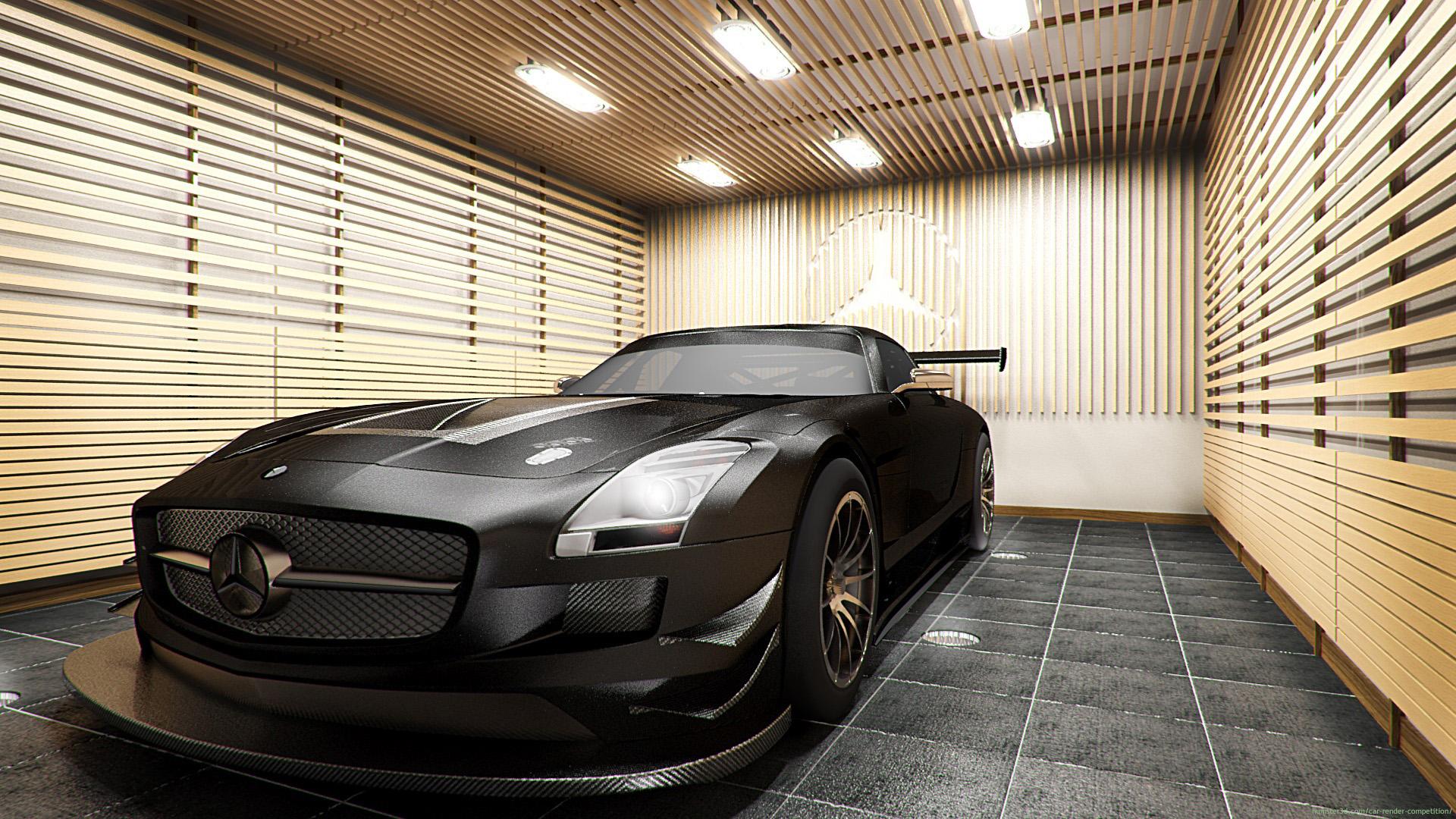 2011 Mercedes-Benz SLS AMG Black 3d art