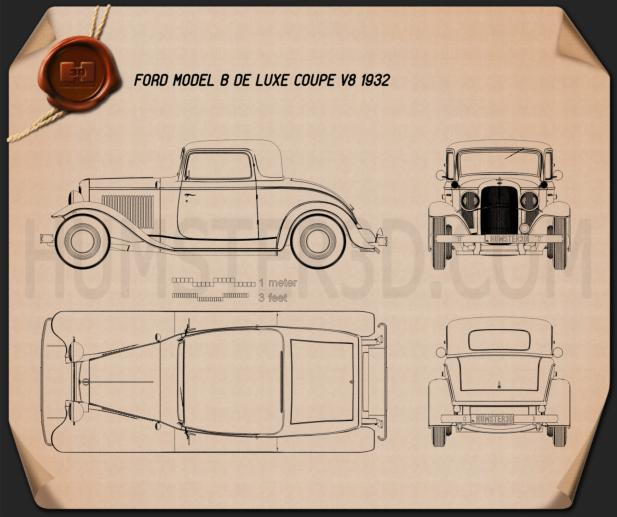 Ford Model B De Luxe Coupe V8 1932 Blueprint