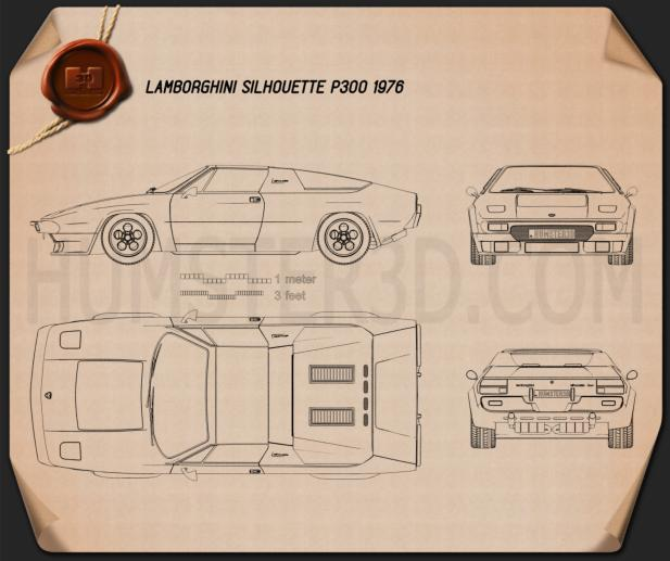 Lamborghini Silhouette P300 1976 Blueprint