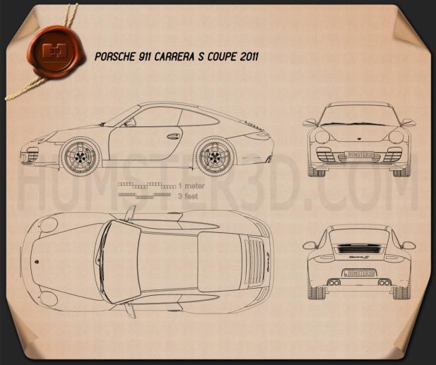 Porsche 911 Carrera S Coupe 2011 Blueprint