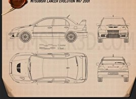 Mitsubishi Lancer Evolution 2001 Blueprint