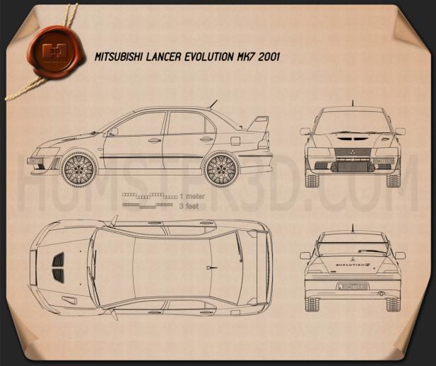 Mitsubishi Lancer Evolution 2001 Blueprint