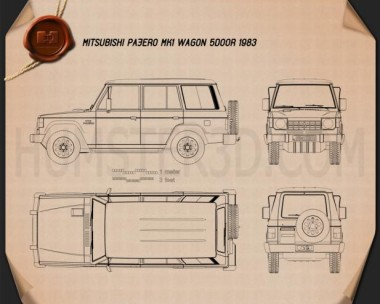 Mitsubishi Pajero (Montero) Wagon 1983 Blueprint
