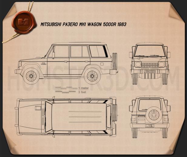 Mitsubishi Pajero (Montero) Wagon 1983 Blaupause