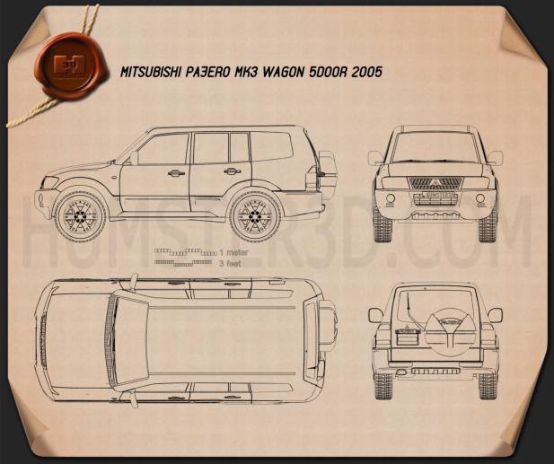 Mitsubishi Pajero (Montero) Wagon 2005 Blueprint