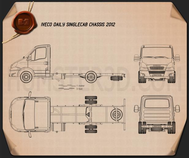 Iveco Daily 单人驾驶室 Chassis 2012 蓝图