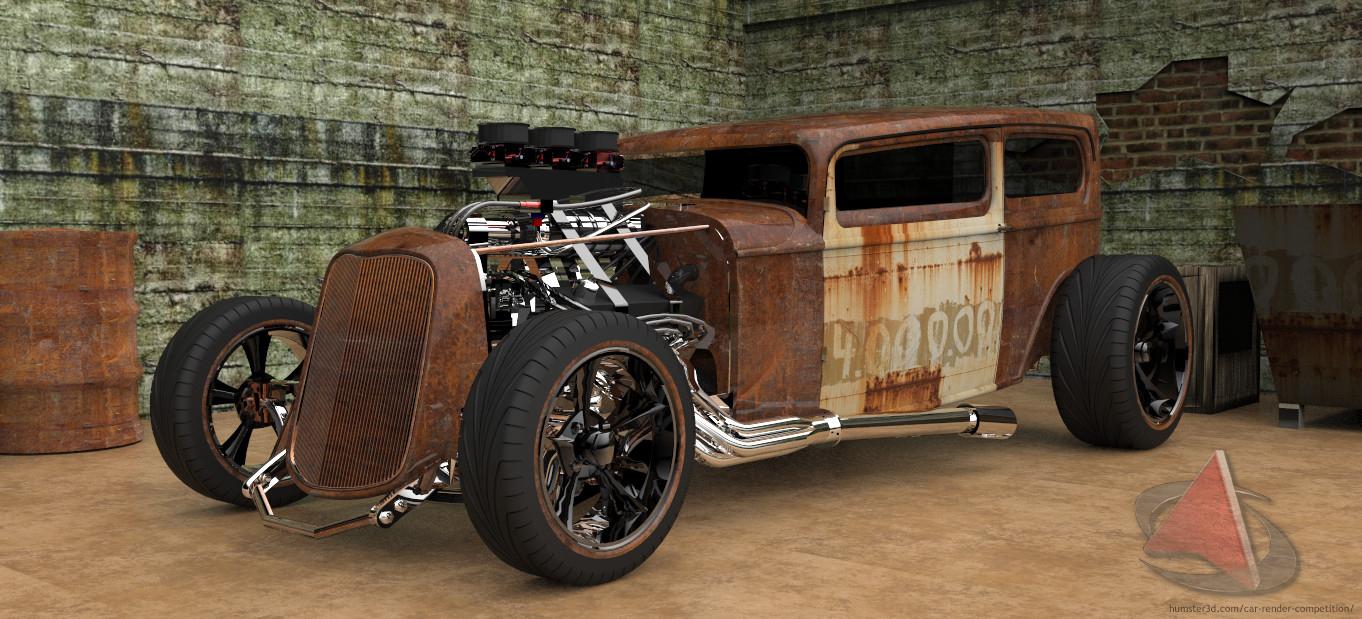 Junk old racing car 3d art