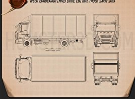 Iveco EuroCargo Box Truck 2013 Blueprint