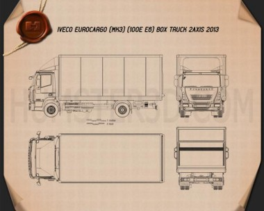 Iveco EuroCargo Box Truck 2013 Blueprint