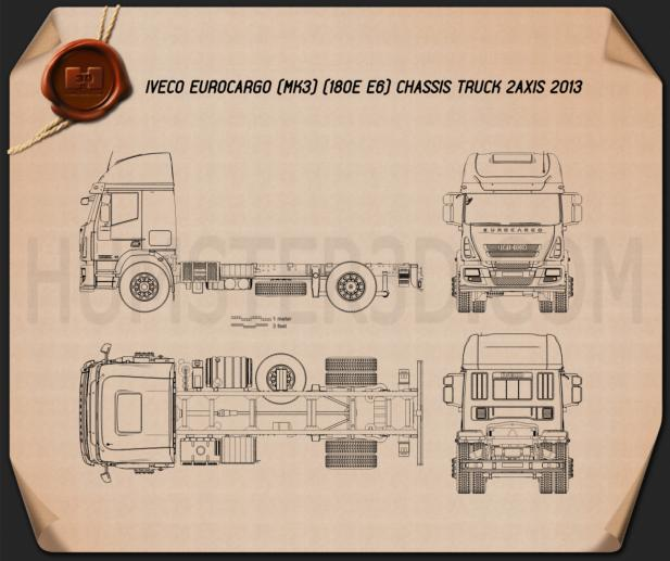 Iveco EuroCargo Chassis Truck 2013 Blueprint