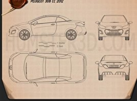 Peugeot 308 CC 2012 Blueprint