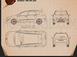 Peugeot 308 SW 2012 Blueprint