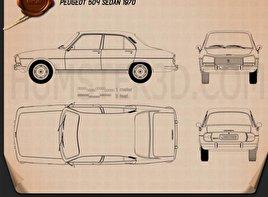 Peugeot 504 Sedan 1970 Blueprint