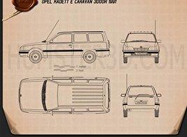Opel Kadett E Caravan 3-door 1984 Blueprint