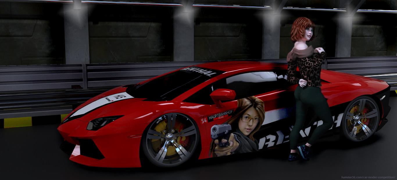 Lamborghini Aventador and girl 3d art