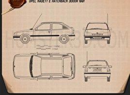 Opel Kadett E Hatchback 3-door 1991 Blueprint