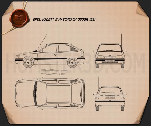 Opel Kadett E ハッチバック 3ドア 1991 設計図
