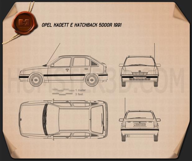 Opel Kadett E hatchback 5-door 1991 Blueprint