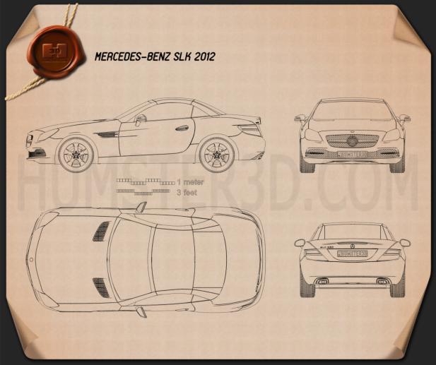 Mercedes-Benz SLK-Class (R172) 2012 Blueprint