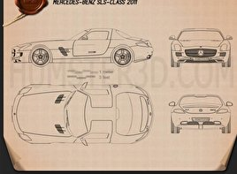 Mercedes-Benz SLS AMG 2011 Blueprint
