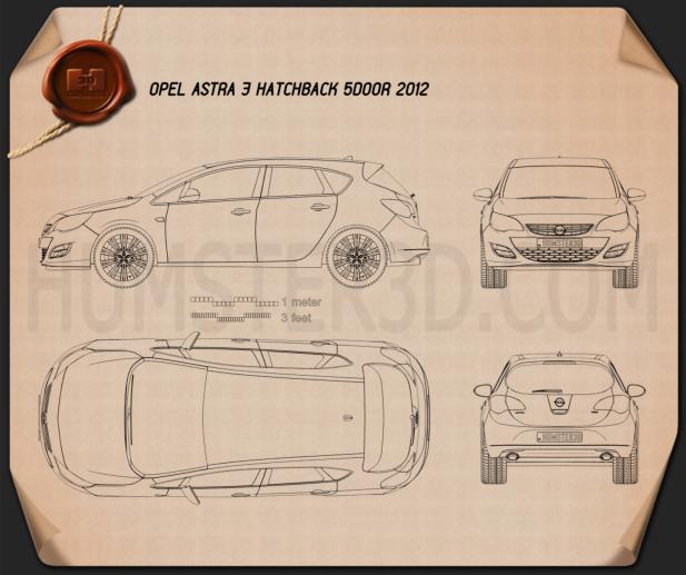 Opel Astra J hatchback 5-door 2012 Blueprint
