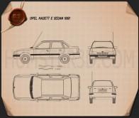 Opel Kadett E Sedan 1991 Blueprint