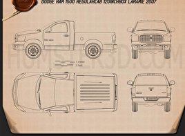 Dodge Ram 1500 Regular Cab Laramie 120-inch Box 2008 Blueprint
