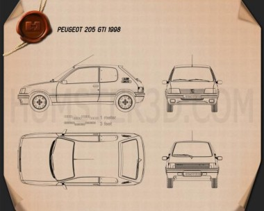 Peugeot 205 3-door GTI 1998 Blueprint