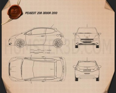 Peugeot 208 3-door 2013 Blueprint