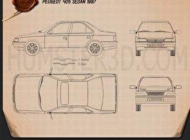 Peugeot 405 sedan 1987 Blueprint