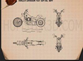 Harley-Davidson FXST Softail 1984 Blueprint