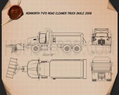 Kenworth T470 Road Cleaner Truck 3-axle 2009 Blueprint