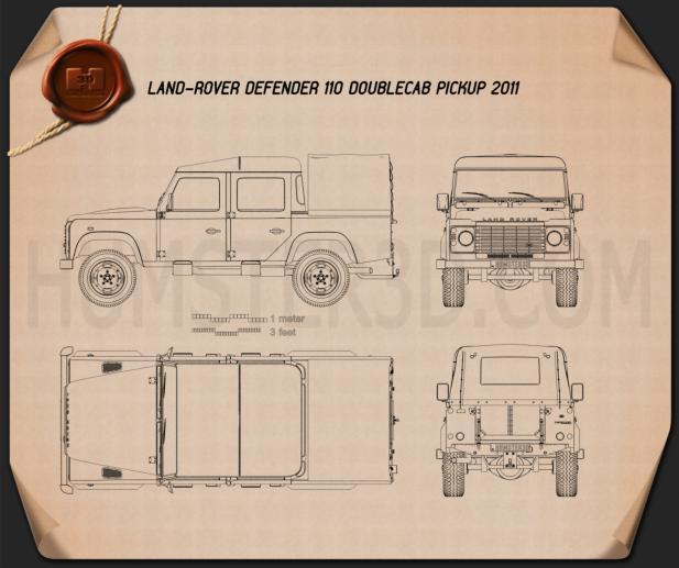 Land Rover Defender 110 Double Cab pickup 2011 Blueprint