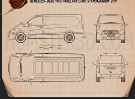 Mercedes-Benz Vito W639 Panel Van Long 2011 Blueprint