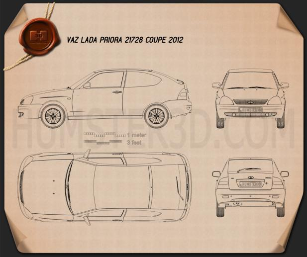 Lada Priora 21728 coupe 2012 Blueprint