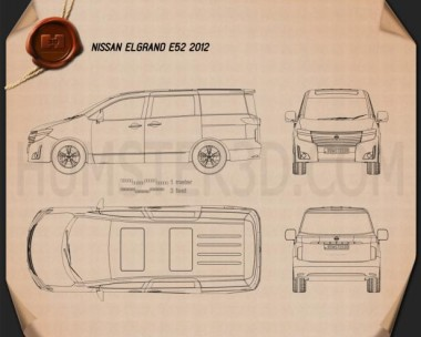 Nissan Elgrand (E52) 2012 Blueprint